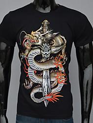 T-Shirts ( Algodão ) MEN - Estampado Redondo - Manga Curta