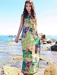 Women's Boho Green Dress , Maxi Halter Sleeveless Flower/Backless