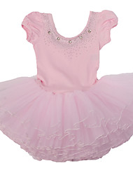 3~7 Y Kid Girls Pink/Blue/Yellow Fancy Ballet Tutu Dress with Diamond Accessories/Cotton  Performance Tulle Dancewear