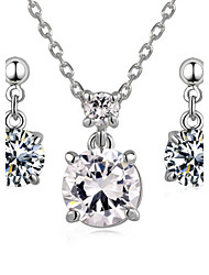 T&C Women's 18k White Gold Plated 2 Carat Cubic Zirconia Simulated Diamond Pendant Necklace Earrings Sets