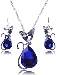 Contracted sweater chain cute cat princess crystal necklace set # 0244