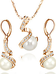 HKTC Mother's Day Gift 18k Rose Gold Plated Crystal White Simulated Pearl Earrings and Necklace Set