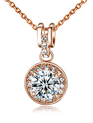 HKTC Elegant Bridal Jewelry 18k Rose Gold Plated 3.5ct Cubic Zirconia Stone Round Pendant Necklace