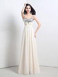 Formal Evening Dress A-line Straps Floor-length Chiffon / Sequined
