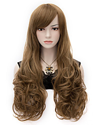 Fashionable Long Wavy Healthy Wigs As Real Hair Brown