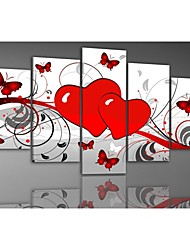 Hand-painted Red Hot Love Fly Butterfly Flowers Landscape Oil Paintings on Canvas 5pcs/set No Frame