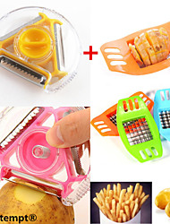 1PCS Multi-function Rotary Potato Peeler&1PCS Stainless Steel Potato Chips Vertical Cutter Chopper