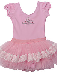 Ballet Dresses Children's Performance Cotton / Spandex Cascading Ruffle / Lace / Pattern/Print 1 Piece Pink / White