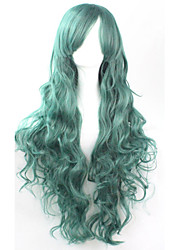 Cos Anime Bright Colored Wigs Long Dark Green Curly  Hair Wig 80 cm