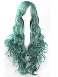 cos Anime Perruques de couleurs vives bouclés vert foncé longue perruque de cheveux de 80 cm