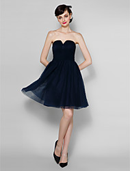 Lanting Knee-length Chiffon / Lace Bridesmaid Dress - Dark Navy Plus Sizes / Petite A-line Strapless