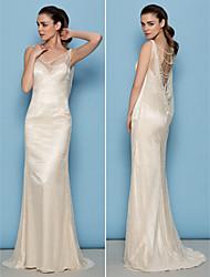 Lan Ting Sheath/Column Wedding Dress - Ivory Sweep/Brush Train Cowl Lace