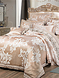Shuian® Luxury Jacquard Silk Cotton Blend 4pcs Duvet Cover Bed Sheet Pillowcase Bed Linen