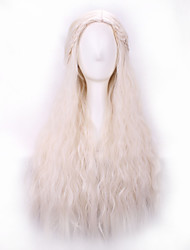 Girl Long Purecolor Light Golden Curls Daenerys Targaryen Cosplay 28inch Temperature Fiber Synthetic Hair Wig