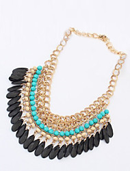 Women's Fashion Party/Casual Alloy Bead Tassel Statement Necklace