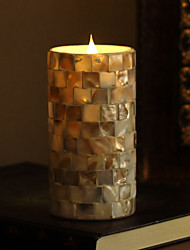 SIMPLUX 3*6 Inch Moving Wick Square Shells Mosaic Glass With Flameless LED Candle With Timer,Work With 2xC Batteries