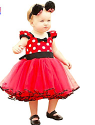 Waboats Summer Kids Girls' Red Polka Dot Bow Chiffon Dress