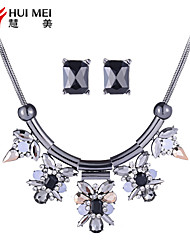 The New Female Romantic And Colorful Exaggerated Necklaces Earrings Silver Plated Diamond Jewelry Black Pink Siut