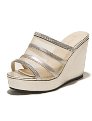 Women's Shoes Wedge Heel Wedges/Peep Toe Sandals Dress Black/Silver/Gold