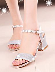 Sandalias ( Piel sintética , Dorado/Plateado )- 3-6cm - Tacón grueso para Zapatos de mujer