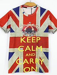 European Style TEE Digital Printing 3D T-shirt Crown Flag Harajuku Sleeved T-shirt
