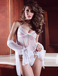 Women Lycra Sexy Thin Sleepwear Sets/Bridal Sleepwear Gowns White