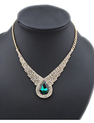 Masoo Women's Fashion New Arrival High Quality Rhinestone Gem Water Drop Necklace