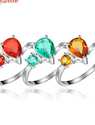 Lucky Shine Women's Men's Unisex Silver Unique Rings With Gemstone Fire Brazil Citrine Red Green Quartz Crystal