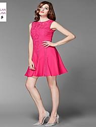 MILANLISA®Women's 2015 Heavy Industry Embroidery Eugen Yarn Embroidery Fashion Dress