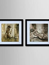 peinture à l'huile moderne nus abstraits main toile peinte avec étiré encadrée - ensemble de 2