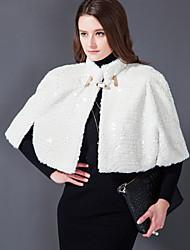 Hoods & Ponchos Capes 3/4 Sleeve Rabbit Fur/Faux Fur White