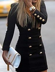 casaco preto sólido, botão das mulheres bodycon manga longa poliéster / malhas / algodão