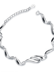 Jazlyn Authentic Platinum Plated 925 Sterling Silver Woman Water Wave Link Chain Bracelet