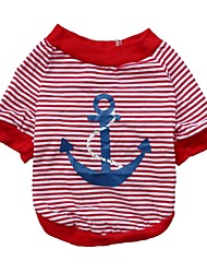 Cat / Dog Shirt / T-Shirt Red / Blue Dog Clothes Summer Stripe / Geometic Cosplay