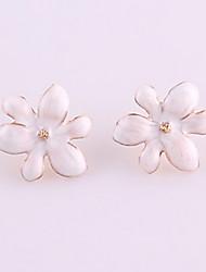 Women's Elegent Flower Enameled Stud Earrings