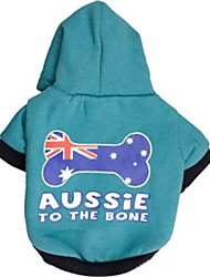 "Lovely USA Flag Bones""Aussie To The Bone"" Pattern Fleeces with Hoodies T-Shirt for Dogs(Blue Assorted Sizes)"