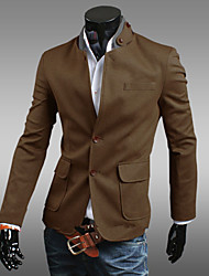 Men's Solid Work Blazer,Polyester / Cotton Blend Long Sleeve Black / Yellow / Gray