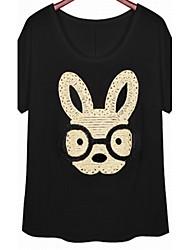 Women's Sexy Casual Print Plus Sizes Micro Elastic Short Sleeve Regular T-shirt (Sequin/Cotton)