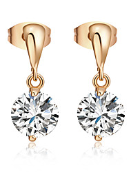 Women's Unique Design 18K Gold Plating Zircon Pendant Earrings
