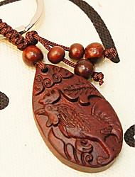 mogno pequeno ornamento de madeira entalhada em paz presente de madeira pendurar zodíaco chinês
