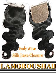 "1Pc/lot 8""-24"" Vietnam Virgin Hair Natural Color Body Wave 4""X4"" Top Silk Base Closure"