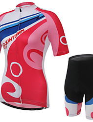 WEST BIKING® Women Mountain Bike Clothing Suit Breathable Red Pattern Wicking Cycling Clothing Short Suit
