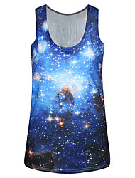 PinkQueen® Women's Polyester/Spandex Galaxy Printed Sleeveless Tank Top