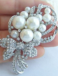 Wedding Accessories Silver-tone Pearl Rhinestone Crystal Bridal Brooch Wedding Deco Flower Brooch Bouquet Bridal Jewelry