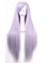Cos Anime Bright Colored Wigs Smoke GreyLong  Straight  Hair Wig 80 cm