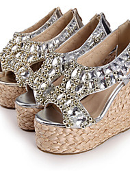 Women's Shoes Wedge Heel Wedges Sandals Outdoor/Dress Silver/Gold