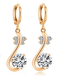 Maria Women's Korean-style Good Quality 18K Gold-plated Jewelry Inlaid Zircon Stud Earrings