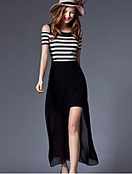 На каждый день Платье Полоски Макси Без рукавов Черный Лето Слабоэластичная Средняя