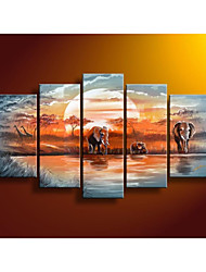 100% Hand Painted Home Decor Blue Lake Forest Elephants Landscape Oil Painting on Canvas No Frame