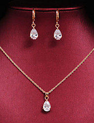 Women's High Quality Luxury 18k Gold CZ Waterdrop Wedding Gift Jewelry Sets